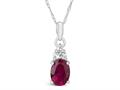 Finejewelers 10k White Gold 8x6mm Oval Created Ruby Pendant Necklace