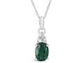 Finejewelers 10k White Gold 8x6mm Oval Created Emerald Pendant Necklace