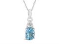Finejewelers 10k White Gold 8x6mm Oval Swiss Blue Topaz Pendant Necklace