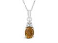 Finejewelers 10k White Gold 8x6mm Oval Citrine Pendant Necklace