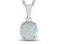 10kt White Gold 7mm Round Created Opal Pendant Necklace