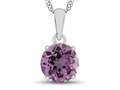 10kt White Gold 7mm Round Created Pink Sapphire Pendant Necklace