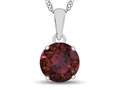 10k White Gold 7mm Round Created Ruby Pendant Necklace