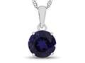 10kt White Gold 7mm Round Created Sapphire Pendant Necklace