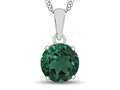 10kt White Gold 7mm Round Simulated Emerald Pendant Necklace