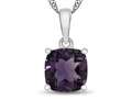 10kt White Gold 7mm Cushion Amethyst Pendant Necklace