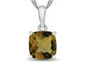 10kt White Gold 7mm Cushion Citrine Pendant Necklace
