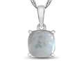 10kt White Gold 7mm Cushion Created Opal Pendant Necklace