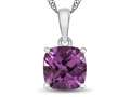 10kt White Gold 7mm Cushion Created Pink Sapphire Pendant Necklace