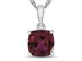 10kt White Gold 7mm Cushion Created Ruby Pendant Necklace