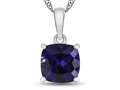 10kt White Gold 7mm Cushion Created Sapphire Pendant Necklace