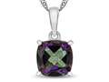 10kt White Gold 7mm Cushion Mystic Topaz Pendant Necklace