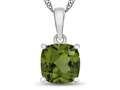 10kt White Gold 7mm Cushion Peridot Pendant Necklace