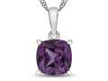 10kt White Gold 7mm Cushion Simulated Alexandrite Pendant Necklace