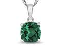 10kt White Gold 7mm Cushion Simulated Emerald Pendant Necklace