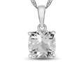 10kt White Gold 7mm Cushion White Topaz Pendant Necklace
