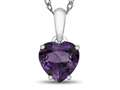 10kt White Gold 7mm Heart Shaped Amethyst Pendant Necklace