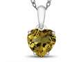 10kt White Gold 7mm Heart Shaped Citrine Pendant Necklace