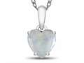 10k White Gold 7mm Heart Shaped Created Opal Pendant Necklace