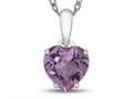 10kt White Gold 7mm Heart Shaped Created Pink Sapphire Pendant Necklace