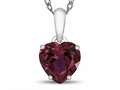 10kt White Gold 7mm Heart Shaped Created Ruby Pendant Necklace