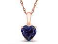 Finejewelers 10k Rose Gold 7mm Heart Shaped Created Blue Sapphire Pendant Necklace