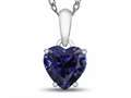 10k White Gold 7mm Heart Shaped Created Sapphire Pendant Necklace
