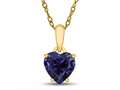 Finejewelers 10k Yellow Gold 7mm Heart Shaped Created Blue Sapphire Pendant Necklace