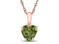 Finejewelers 10k Rose Gold 7mm Heart Shaped Peridot Pendant Necklace