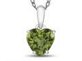 10kt White Gold 7mm Heart Shaped Peridot Pendant Necklace