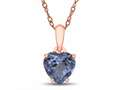 Finejewelers 10k Rose Gold 7mm Heart Shaped Simulated Aquamarine Pendant Necklace