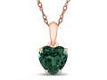 Finejewelers 10k Rose Gold 7mm Heart Shaped Simulated Emerald Pendant Necklace