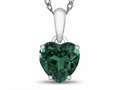 10kt White Gold 7mm Heart Shaped Simulated Emerald Pendant Necklace