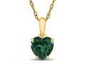 Finejewelers 10k Yellow Gold 7mm Heart Shaped Simulated Emerald Pendant Necklace