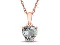Finejewelers 10k Rose Gold 7mm Heart Shaped White Topaz Pendant Necklace