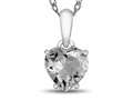 10kt White Gold 7mm Heart Shaped White Topaz Pendant Necklace