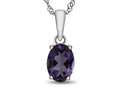 10kt White Gold 7x5mm Oval Amethyst Pendant Necklace