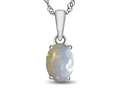 10kt White Gold 7x5mm Oval Created Opal Pendant Necklace