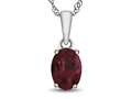 10kt White Gold 7x5mm Oval Created Ruby Pendant Necklace