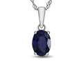 10kt White Gold 7x5mm Oval Created Sapphire Pendant Necklace