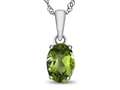 10kt White Gold 7x5mm Oval Peridot Pendant Necklace