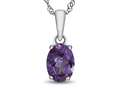 10kt White Gold 7x5mm Oval Simulated Alexandrite Pendant Necklace