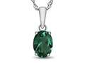 10kt White Gold 7x5mm Oval Simulated Emerald Pendant Necklace