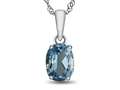 10kt White Gold 7x5mm Oval Swiss Blue Topaz Pendant Necklace