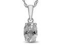 10kt White Gold 7x5mm Oval White Topaz Pendant Necklace