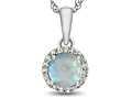 10kt White Gold 6mm Round Created Opal with White Topaz accent stones Halo Pendant Necklace