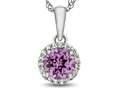 10kt White Gold 6mm Round Created Pink Sapphire with White Topaz accent stones Halo Pendant Necklace