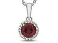 Finejewelers 10k White Gold 6mm Round Created Ruby with White Topaz accent stones Halo Pendant Necklace