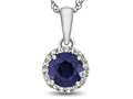 10kt White Gold 6mm Round Created Sapphire with White Topaz accent stones Halo Pendant Necklace