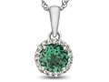 10kt White Gold 6mm Round Simulated Emerald with White Topaz accent stones Halo Pendant Necklace